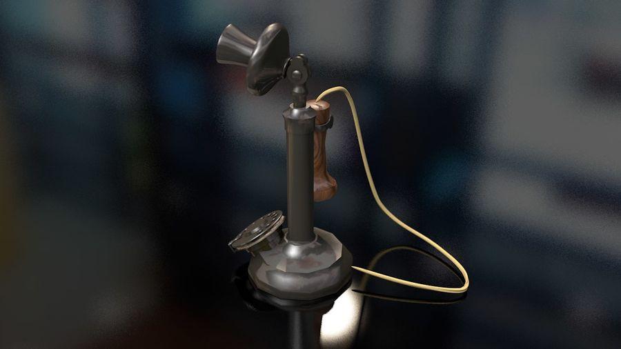 Weinlese-altes Kerzenhalter-Telefon royalty-free 3d model - Preview no. 8
