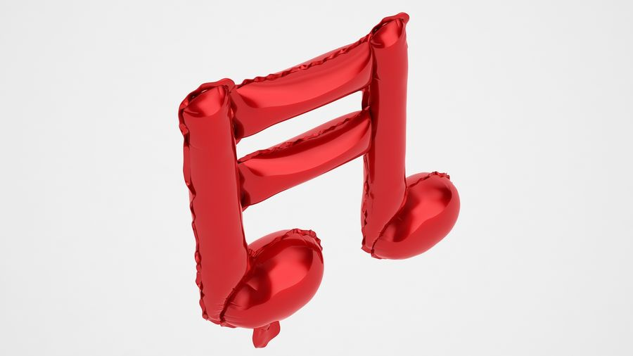 Balon foliowy Uwaga 1 czerwony royalty-free 3d model - Preview no. 7