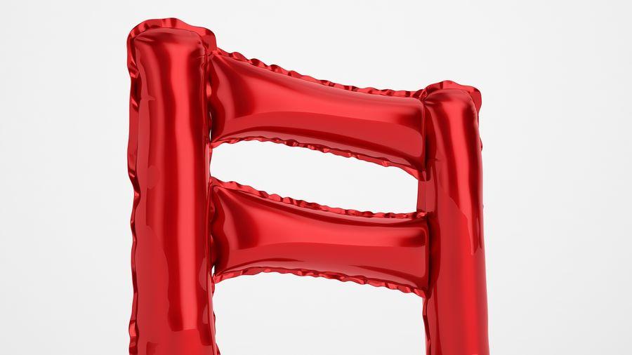 Balon foliowy Uwaga 1 czerwony royalty-free 3d model - Preview no. 15