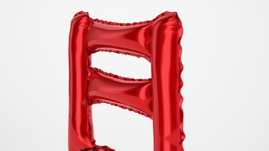 Balon foliowy Uwaga 1 czerwony royalty-free 3d model - Preview no. 17