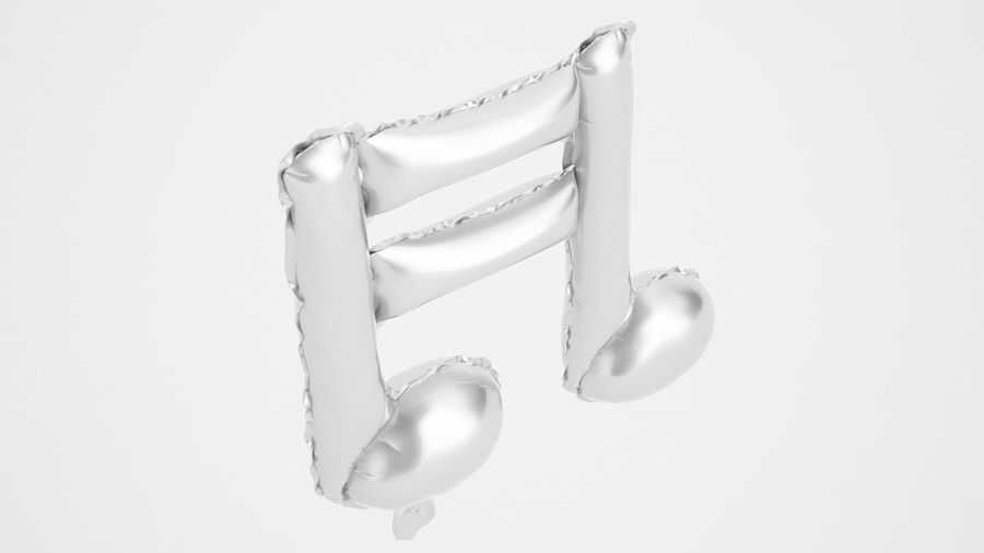 Folienballon Note 1 Silber royalty-free 3d model - Preview no. 7