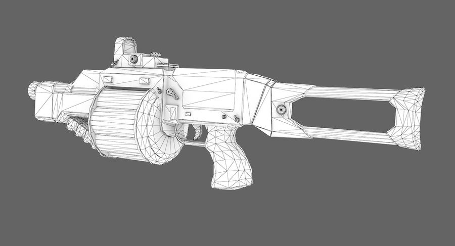 1型科幻武器 royalty-free 3d model - Preview no. 8