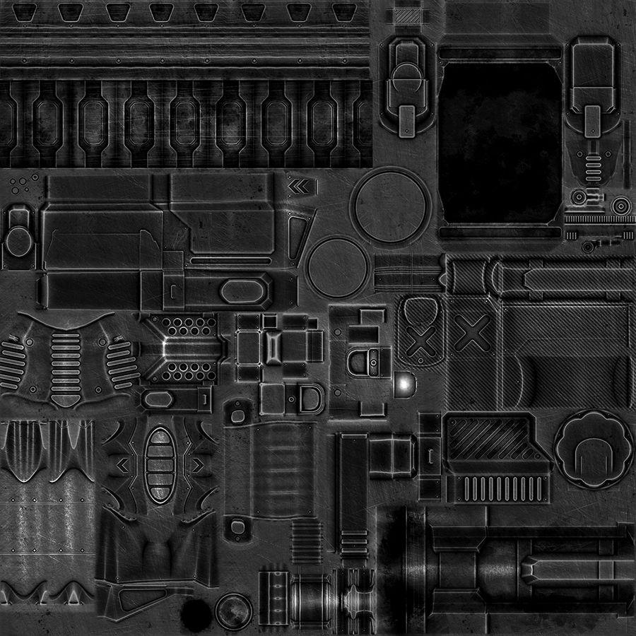 1型科幻武器 royalty-free 3d model - Preview no. 16