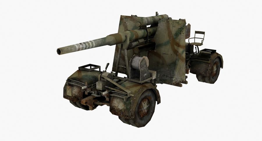 Flak 88 Artillery royalty-free 3d model - Preview no. 5