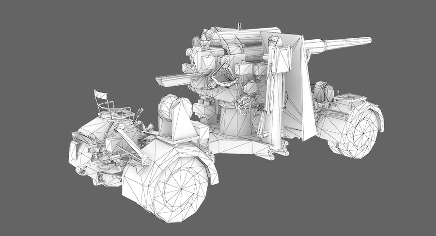Flak 88 Artillery royalty-free 3d model - Preview no. 8