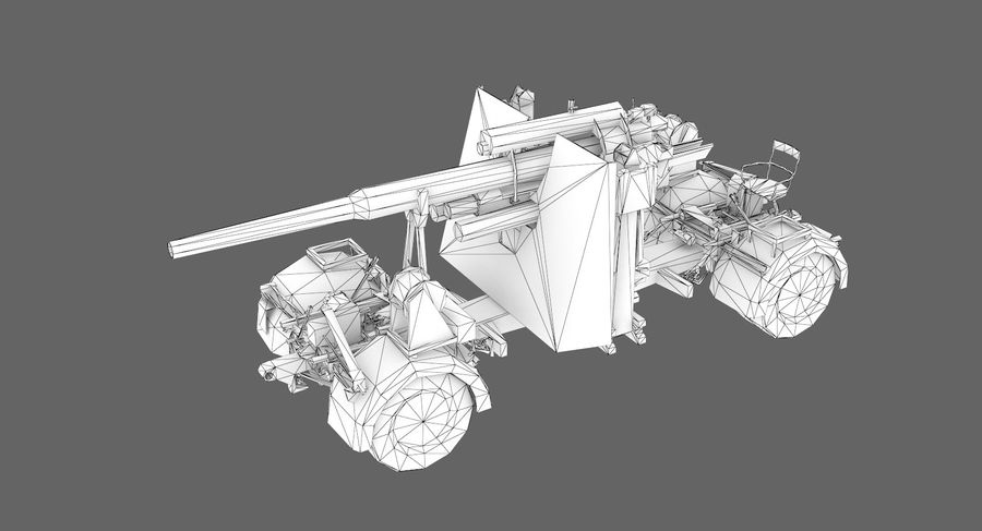 Flak 88 Artillery royalty-free 3d model - Preview no. 7