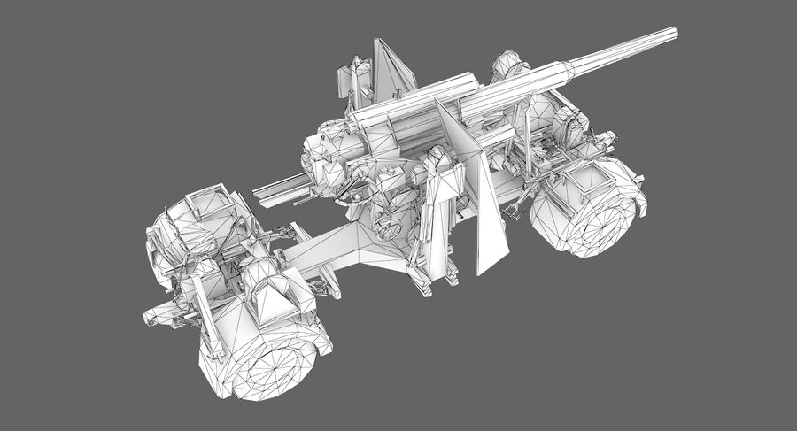Flak 88 Artillery royalty-free 3d model - Preview no. 9