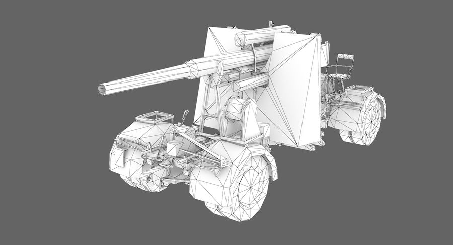 Flak 88 Artillery royalty-free 3d model - Preview no. 10