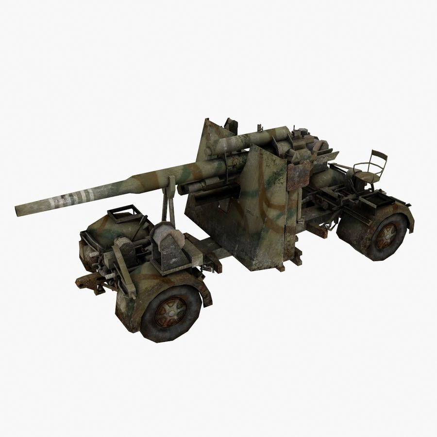 Flak 88 Artillery royalty-free 3d model - Preview no. 1