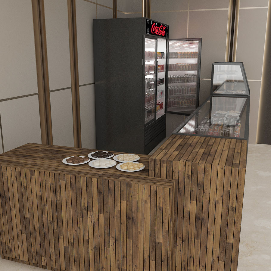 3D Cafe Model royalty-free 3d model - Preview no. 5