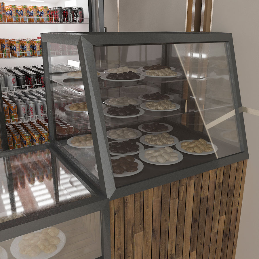 3D Cafe Model royalty-free 3d model - Preview no. 4