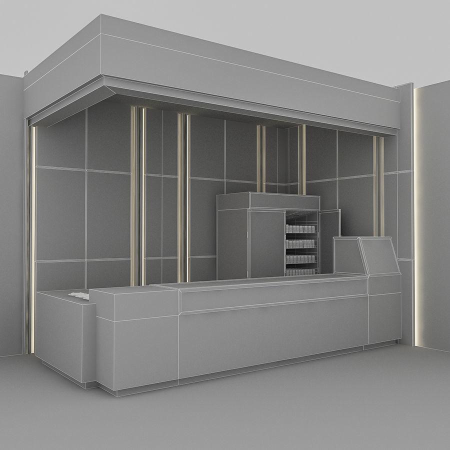 3D Cafe Model royalty-free 3d model - Preview no. 7