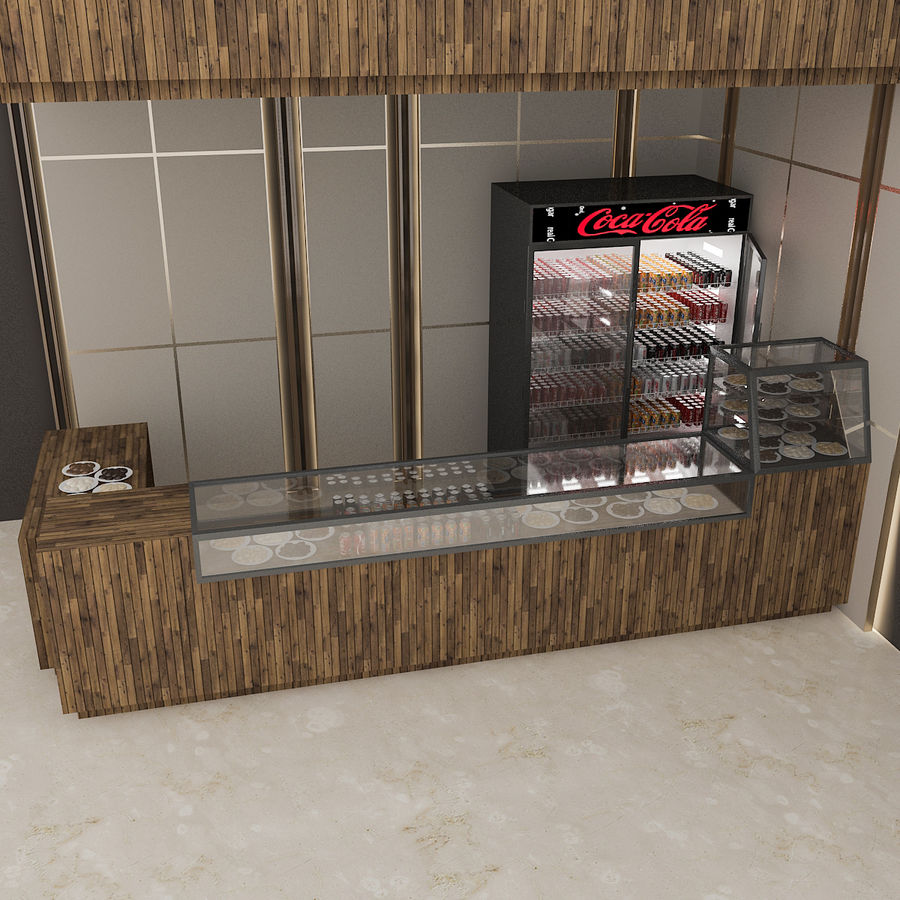 3D Cafe Model royalty-free 3d model - Preview no. 2
