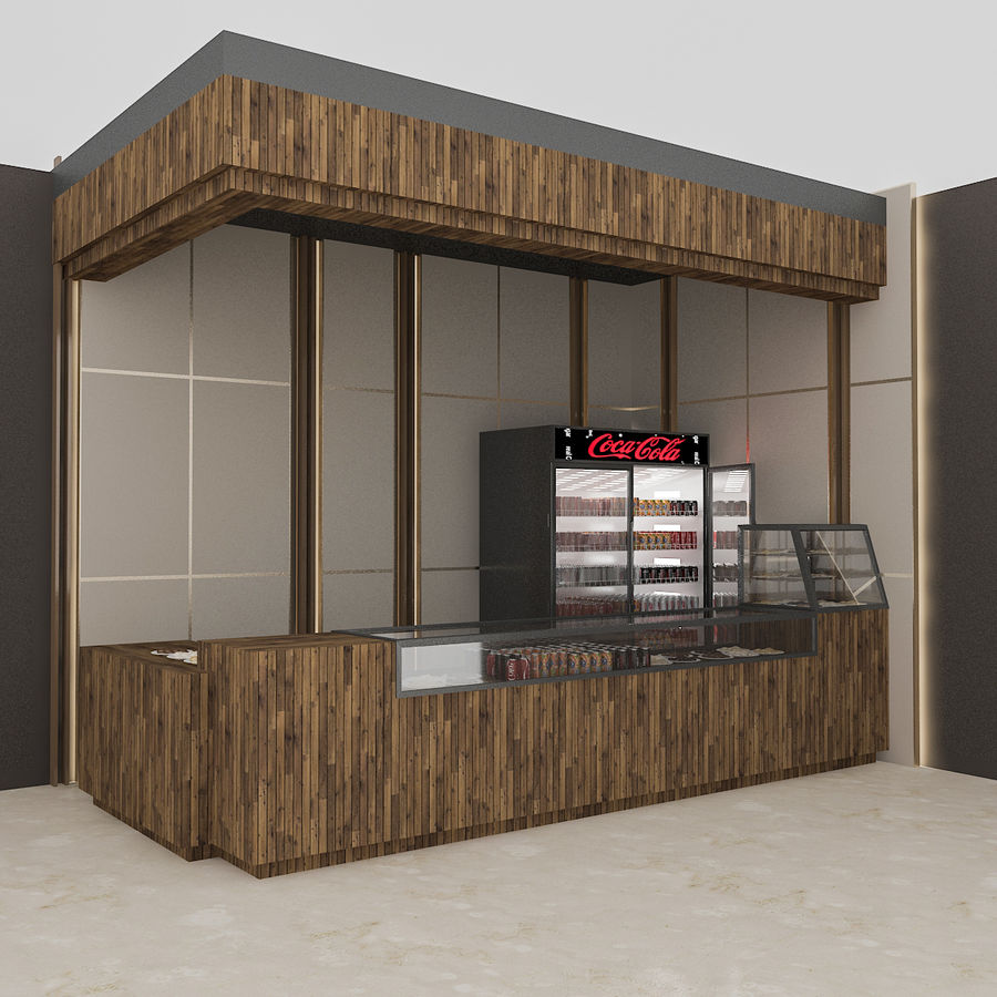 3D Cafe Model royalty-free 3d model - Preview no. 1