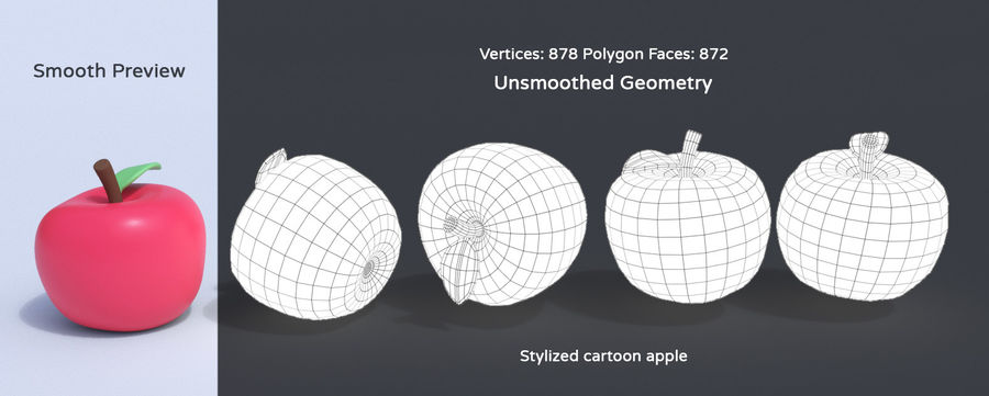 Stylized Cartoon Fruit Collection royalty-free 3d model - Preview no. 4