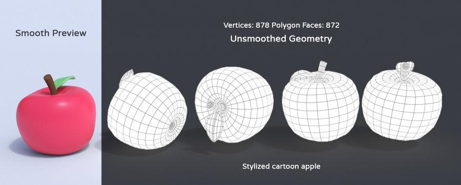 程式化的卡通水果集合 royalty-free 3d model - Preview no. 4