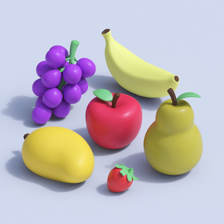Stylized Cartoon Fruit Collection royalty-free 3d model - Preview no. 1