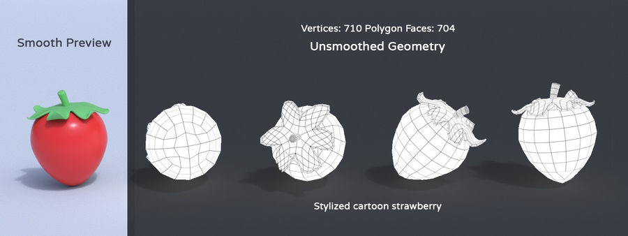 Stylized Cartoon Fruit Collection royalty-free 3d model - Preview no. 19