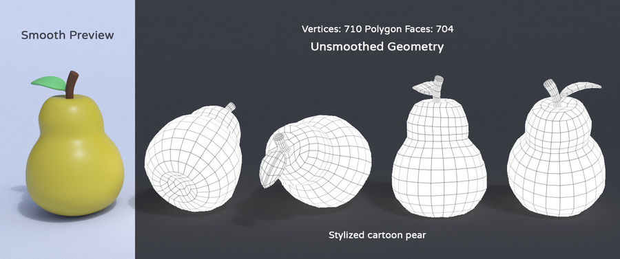 Stylized Cartoon Fruit Collection royalty-free 3d model - Preview no. 16