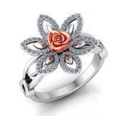 Anillo Rose Flor con piedras 01 modelo 3d