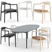Jari Chair with Round Table and Ellipse Table by BRDR Kruger 3d model