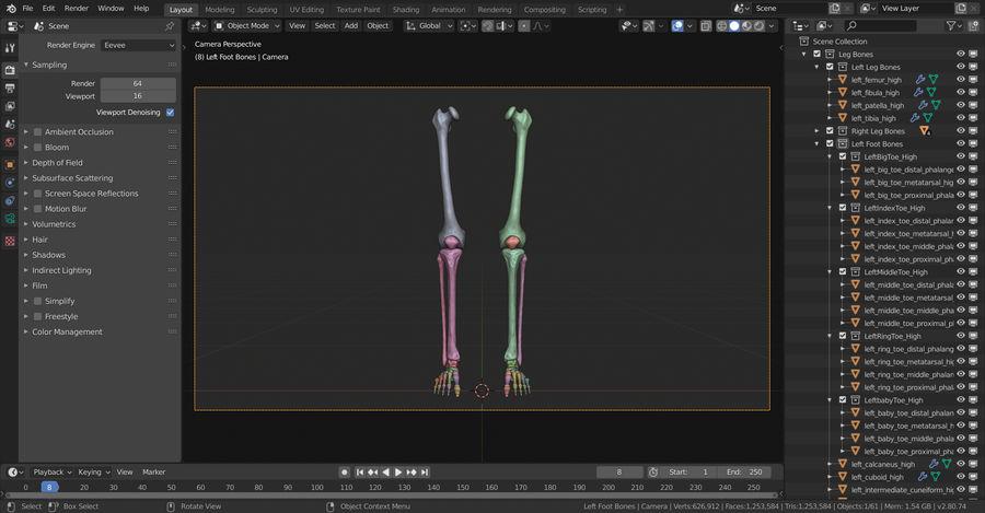Ludzkie kości nóg (model High Poly) royalty-free 3d model - Preview no. 20