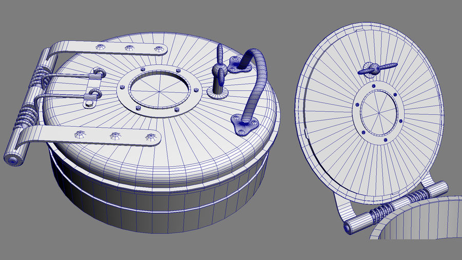 Deck hatch C Gray royalty-free 3d model - Preview no. 7