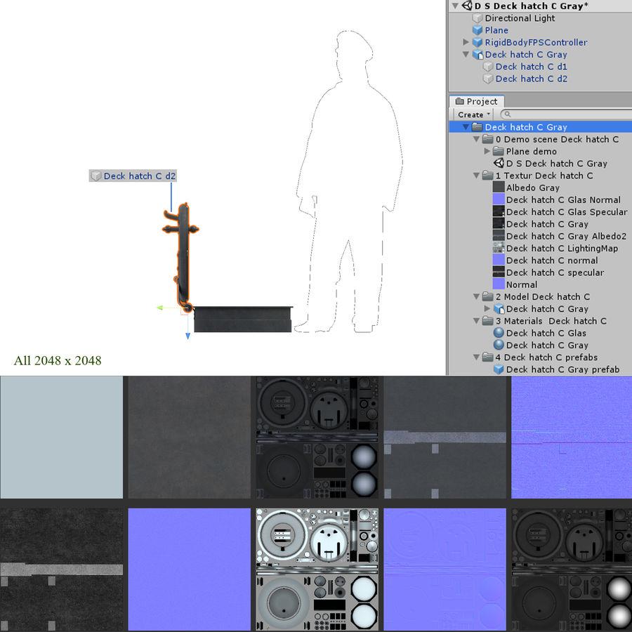 Klapa pokładowa C Szary royalty-free 3d model - Preview no. 8