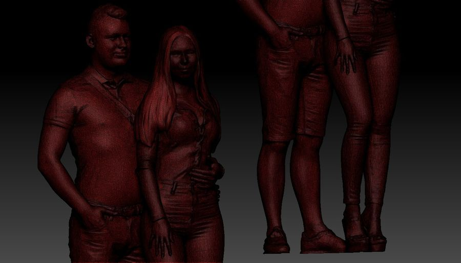 Man and woman couple royalty-free 3d model - Preview no. 6