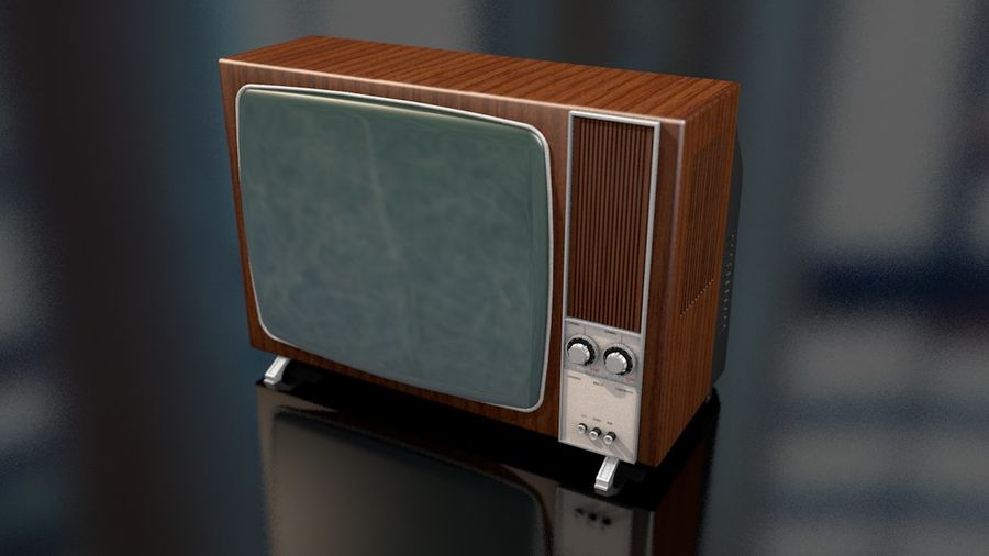 Vintage Television Set royalty-free 3d model - Preview no. 5