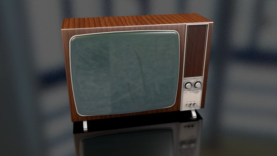 Vintage Television Set royalty-free 3d model - Preview no. 3