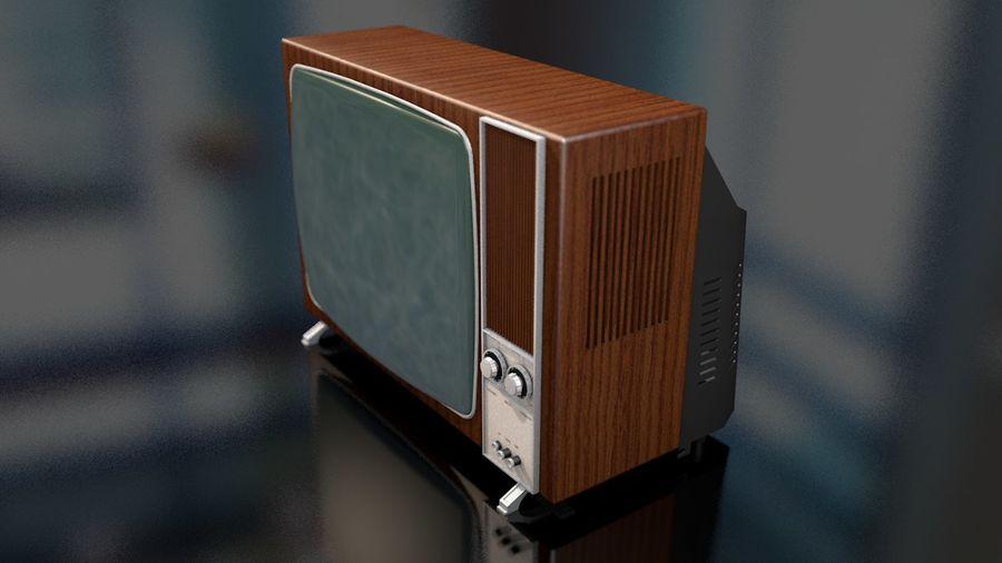 Vintage Television Set royalty-free 3d model - Preview no. 6