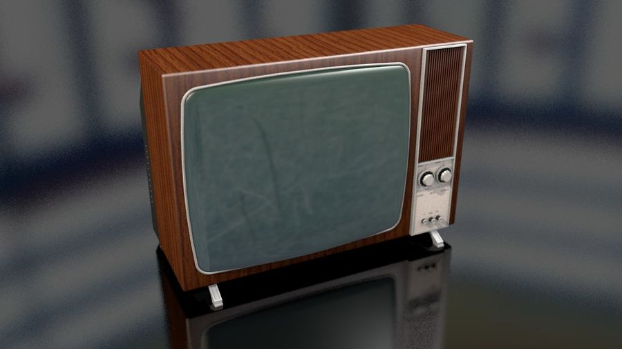 Vintage Television Set royalty-free 3d model - Preview no. 2