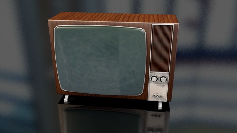 Vintage Television Set royalty-free 3d model - Preview no. 4