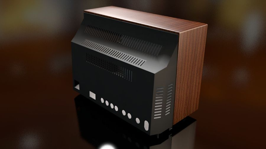 Vintage Television Set royalty-free 3d model - Preview no. 12
