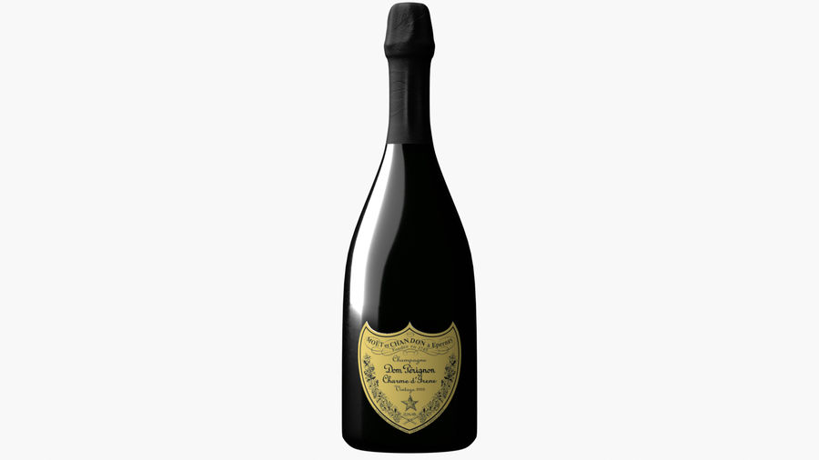 Realistic Dom Perignon Vintage Bottle royalty-free 3d model - Preview no. 2