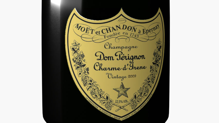 Realistic Dom Perignon Vintage Bottle royalty-free 3d model - Preview no. 6