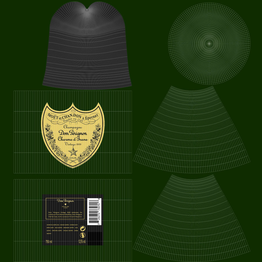 Realistic Dom Perignon Vintage Bottle royalty-free 3d model - Preview no. 13
