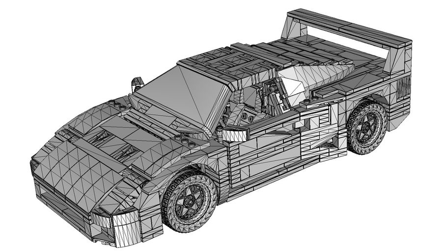 Lego Sports Car royalty-free 3d model - Preview no. 8