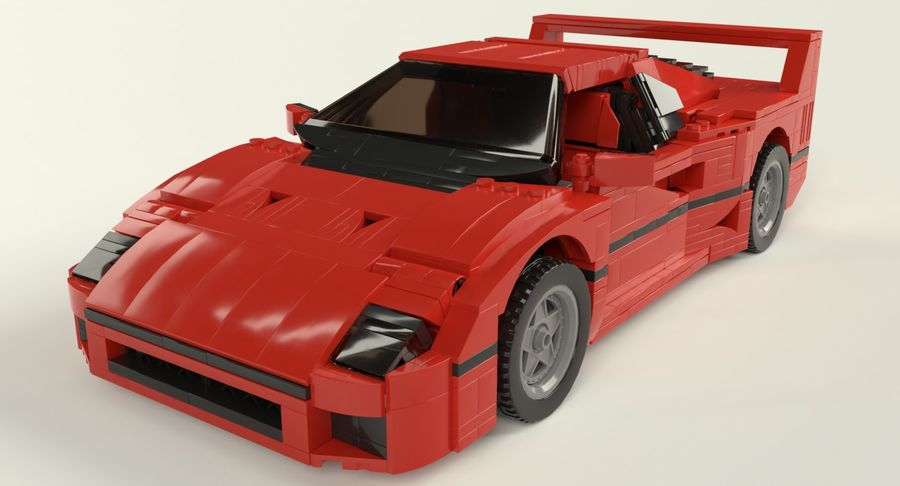 Lego Sports Car royalty-free 3d model - Preview no. 4
