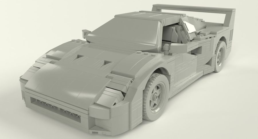 Lego Sports Car royalty-free 3d model - Preview no. 6