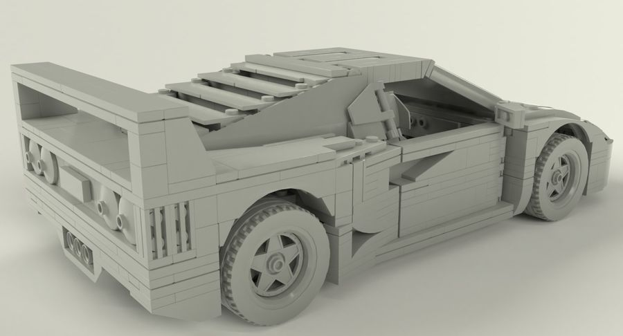 Lego Sports Car royalty-free 3d model - Preview no. 7