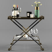 Bar Cart with Accessories 3d model