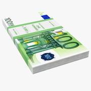100 Euro Bundle Banknotes 3d model