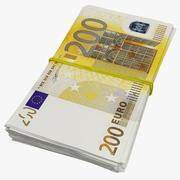Bundel van 200 eurobankbiljetten 3d model