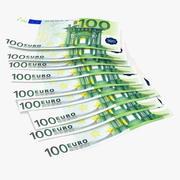 Paper Banknotes Euro 100 Bundle 3d model
