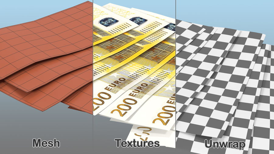 Paper Banknotes Euro 200 Bundle royalty-free 3d model - Preview no. 5
