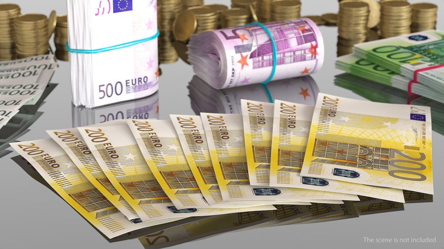 Paper Banknotes Euro 200 Bundle royalty-free 3d model - Preview no. 3