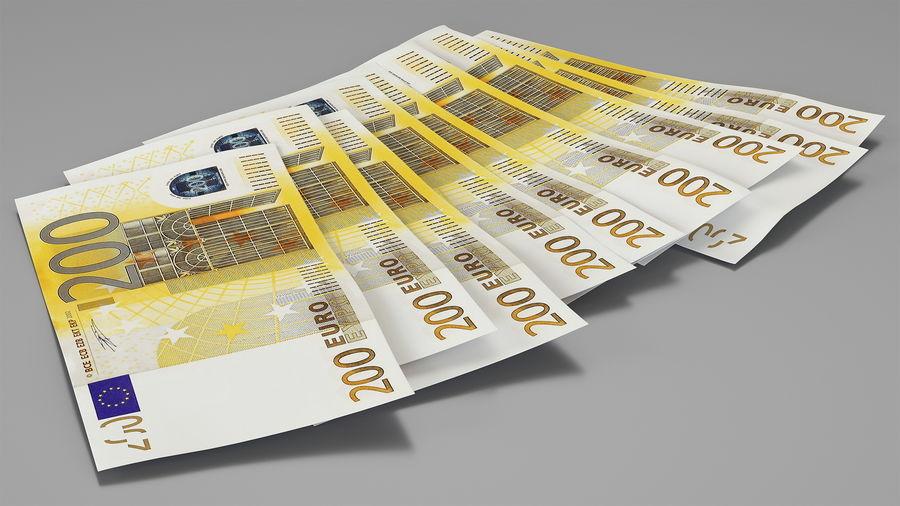 Paper Banknotes Euro 200 Bundle royalty-free 3d model - Preview no. 2