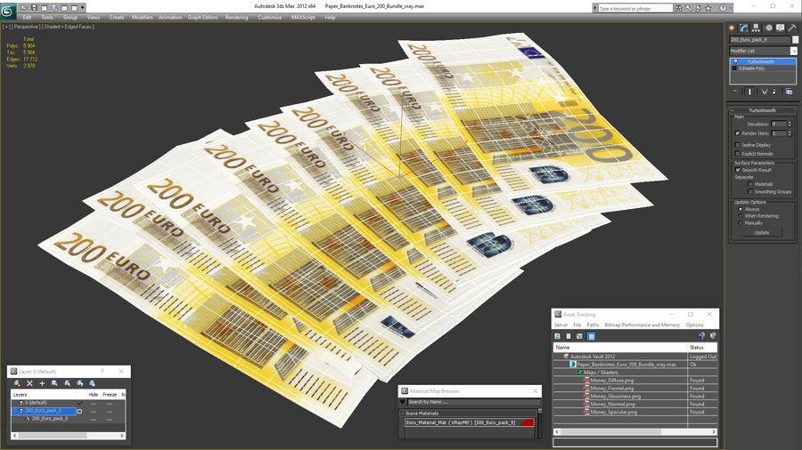 Paper Banknotes Euro 200 Bundle royalty-free 3d model - Preview no. 22